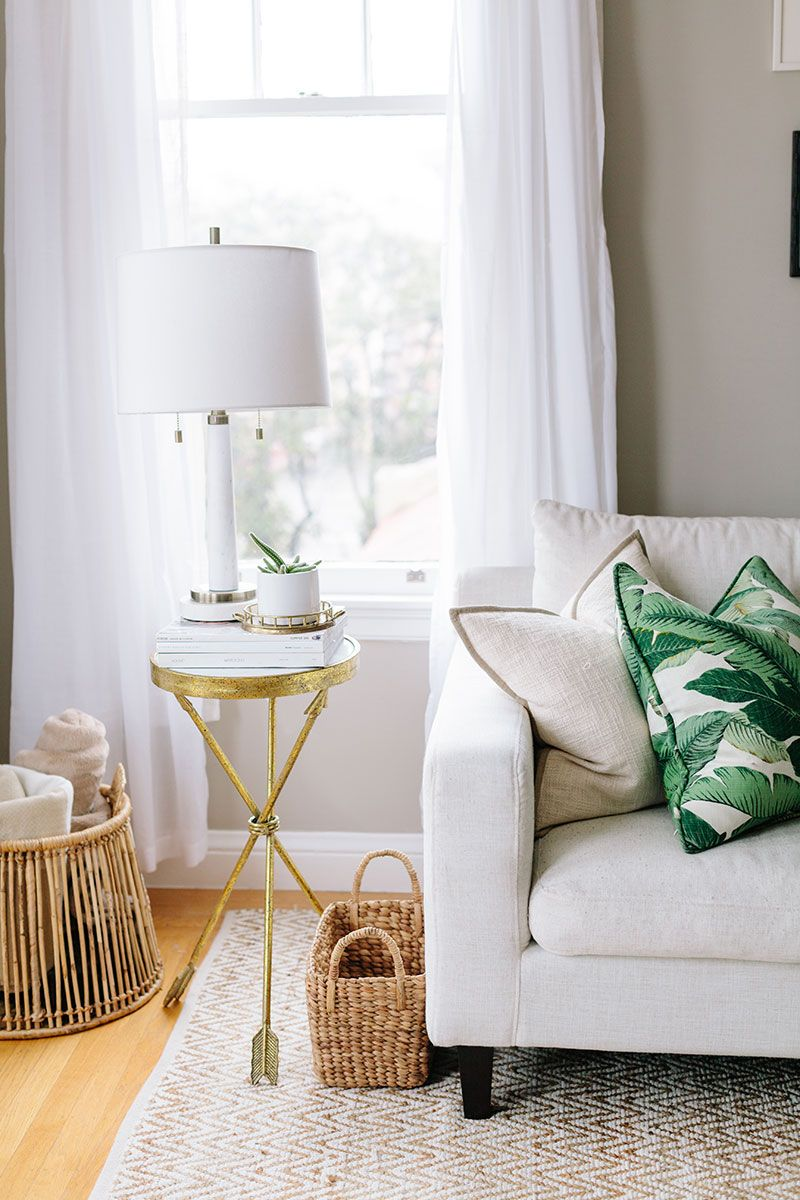 Beige Sofa With Gold Side Table And Palm Tree Pillow In 2020 Living Room Designs Home Home Living Room #palm #tree #living #room #decor