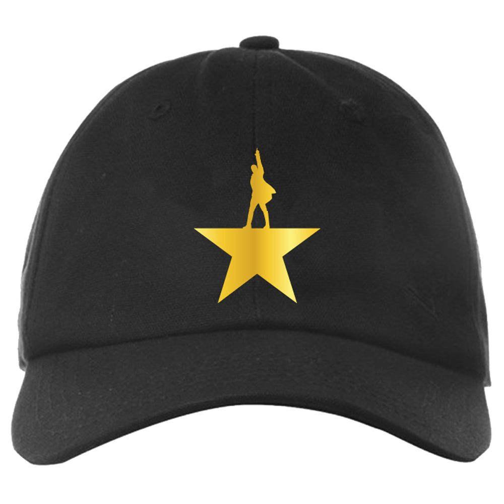 This adjustable black baseball cap is embroidered with the key art on the front and Hamilton An American Musical on the back.
