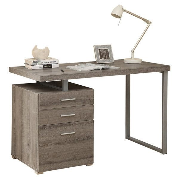 Functional Desks modern home office laptop computer desk in dark taupe wood finish