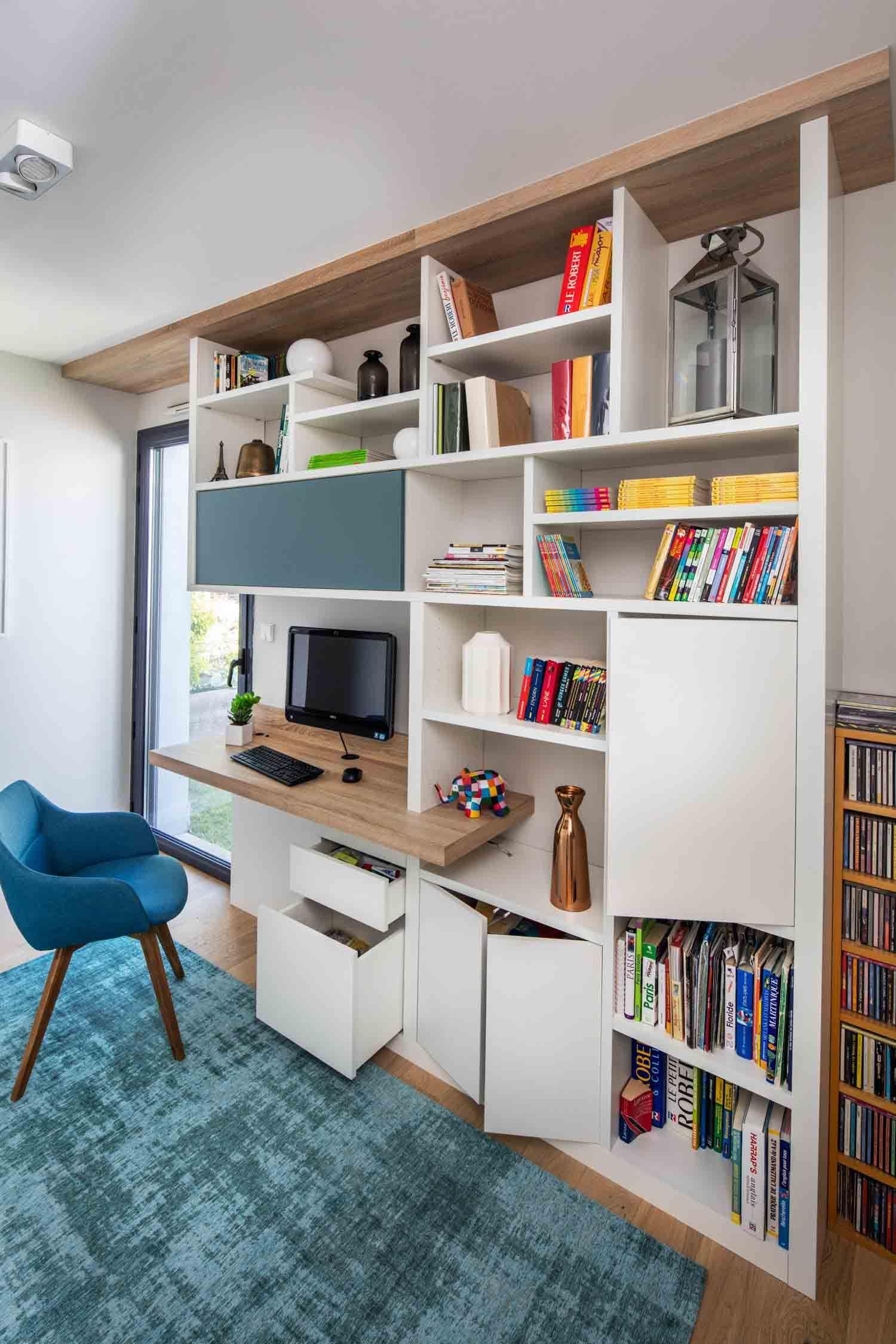 Bureau Et Bibliotheque Fonctionnels La Bibliotheque Avec Bureau Integre Bureau Salon Rangement Sejour