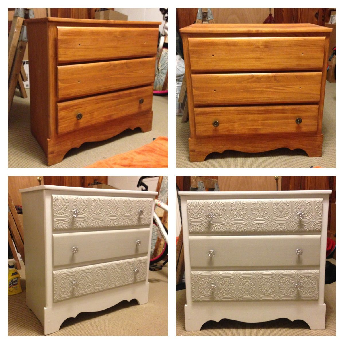 DIY dresser remodel. Pattern done with paintable, self