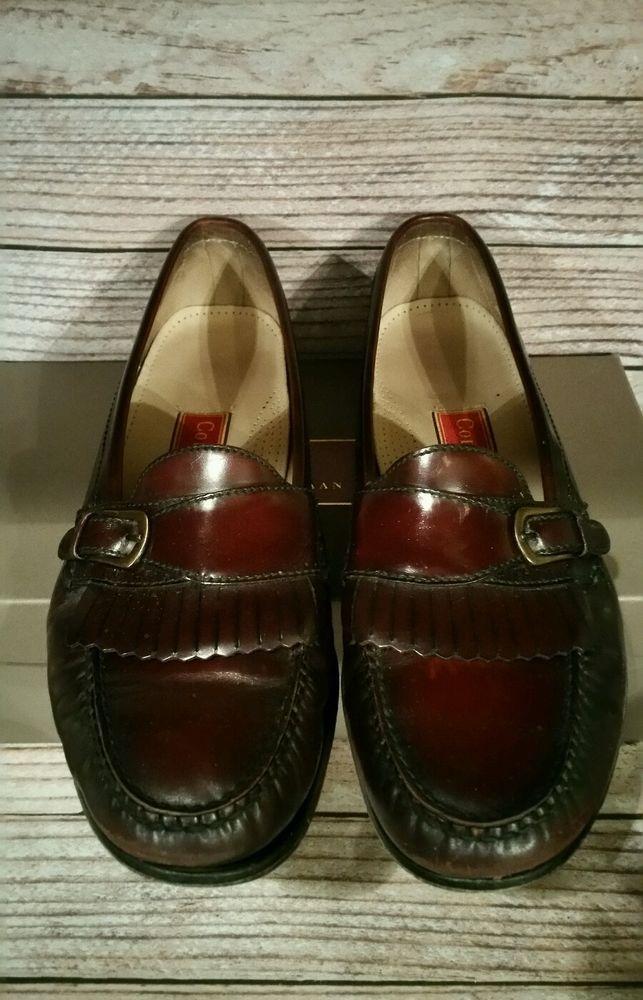 f284987cc91 Men s Cole Haan Burgundy Cordovan Pinch Buckle Kiltie Loafers Size 12 B w   Box  ColeHaan  LoafersSlipOns