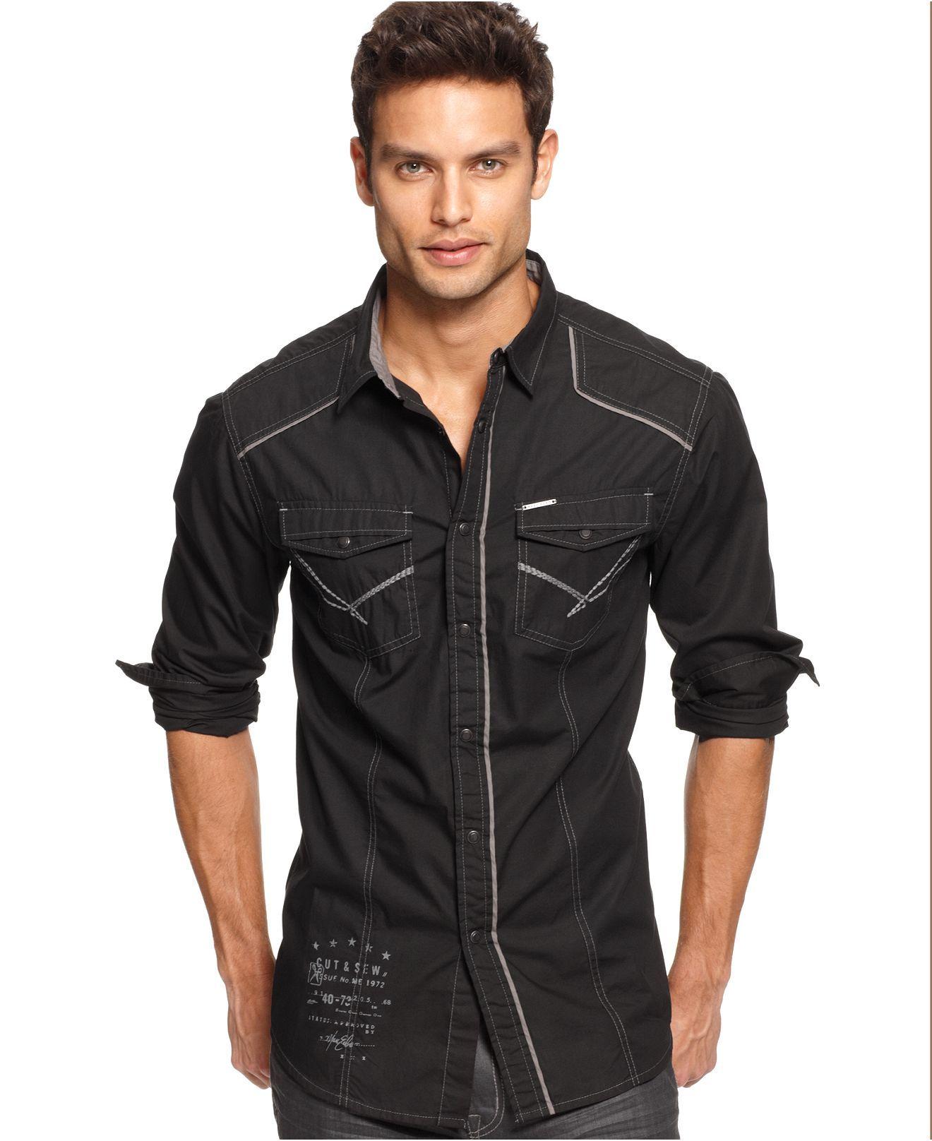 marc ecko cut amp sew shirts long sleeve button down