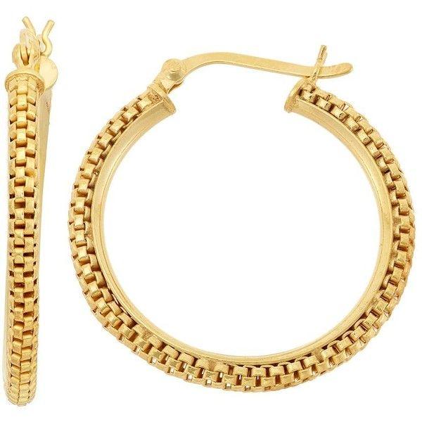 Kohl S 14k Gold Over Silver Popcorn Chain Hoop Earrings Yellow