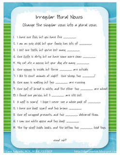 Free Worksheet! Irregular plural nouns. | Ms. Lane\'s SLP Materials ...
