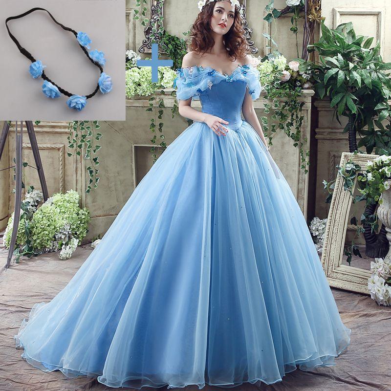Women New Movie Deluxe Cinderella Wedding Dress Blue Cinderella ...