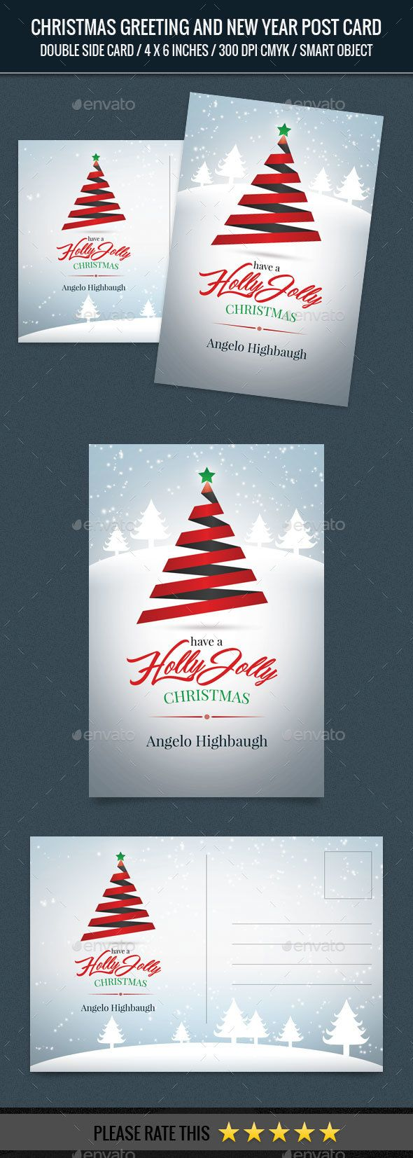 Christmas Greeting And New Year Post Card Template Christmas Greetings New Year Post Postcard