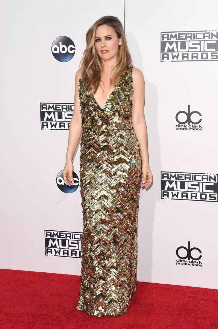 Pin for Later: You Have to See the Outrageous Red Carpet Moments at the AMAs Alicia Silverstone Wearing a Christian Siriano dress, House of CB shoes, Eva Fehran and Logan Hallowell rings, and Casa Reale earrings.