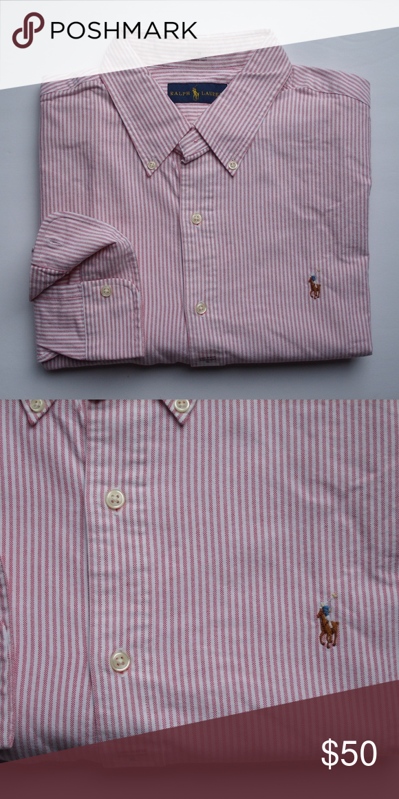Ralph Lauren Red Stripe Classic Dress Shirt Blue Pony NWT
