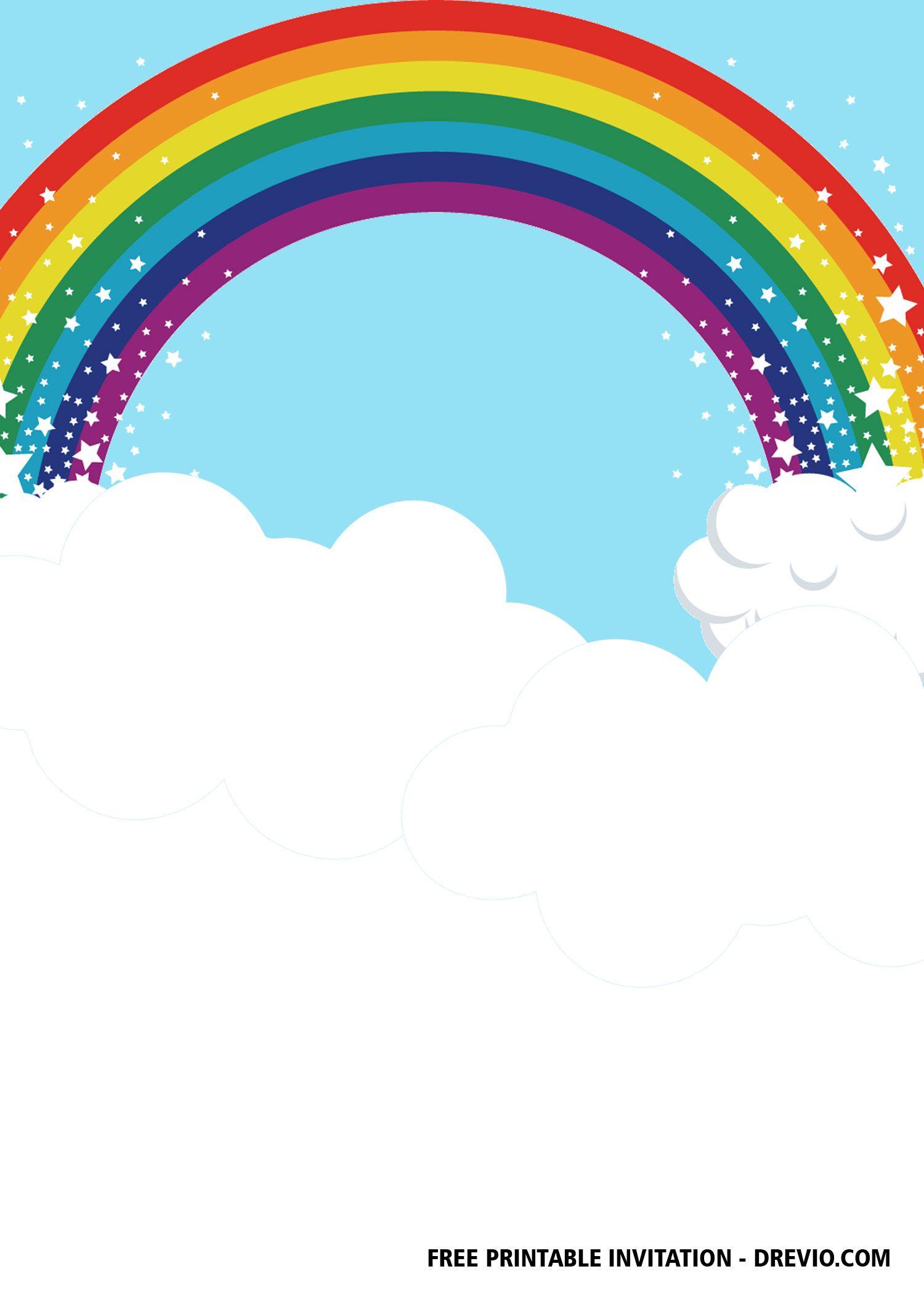 Free Rainbow Party Invitation Templates Rainbow Party