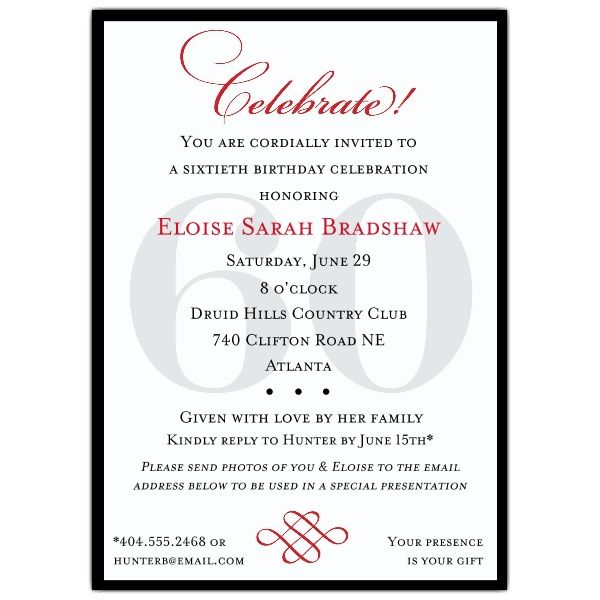 Classic 60th Birthday Celebrate Party Invitations Birthday - birthday invitation letter sample