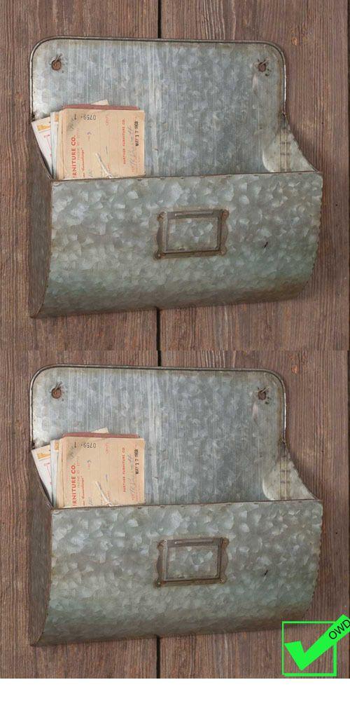 Set Of 2 Rustic Metal Galvanized Wall Pockets Bin Mail