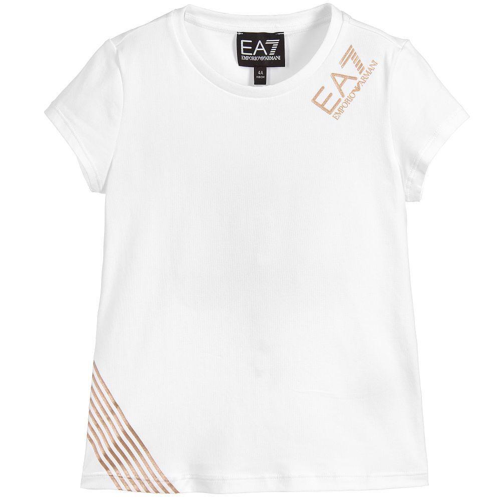 92335edc1264 EA7 Armani - EA7 Girls White Logo T-Shirt
