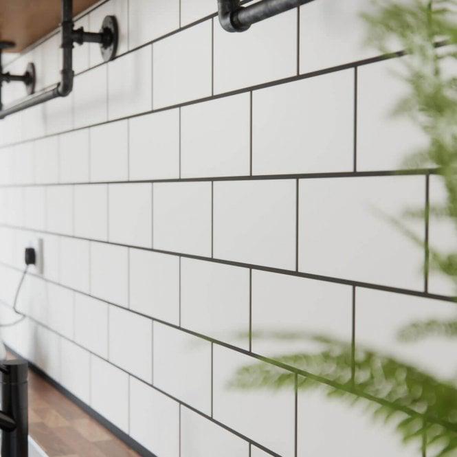 Metro Brick Flat White Matt 10cm X 20cm Wall Tile White Brick Tiles White Kitchen Wall Tiles Kitchen Splashback Tiles
