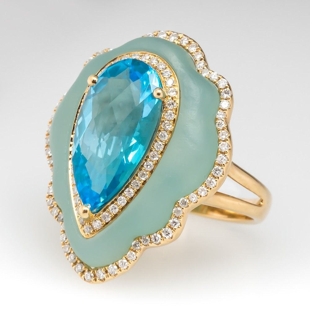 Blue Topaz Cocktail Ring W/ Diamonds On A Bed Of Quartz