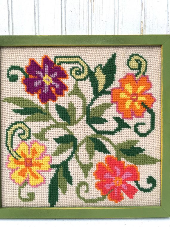 Vintage Needlepoint Framed Needlepoint, Retro Groovy Floral ...