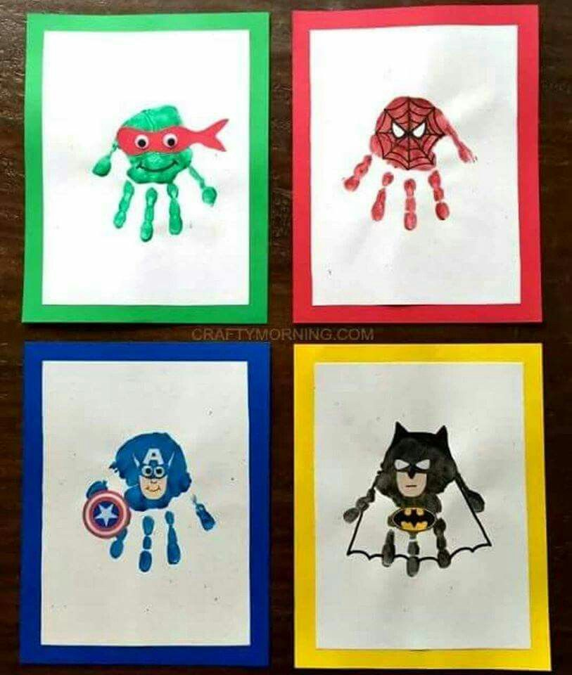 Super hero handprints adorable http www for Pinterest art ideas for adults