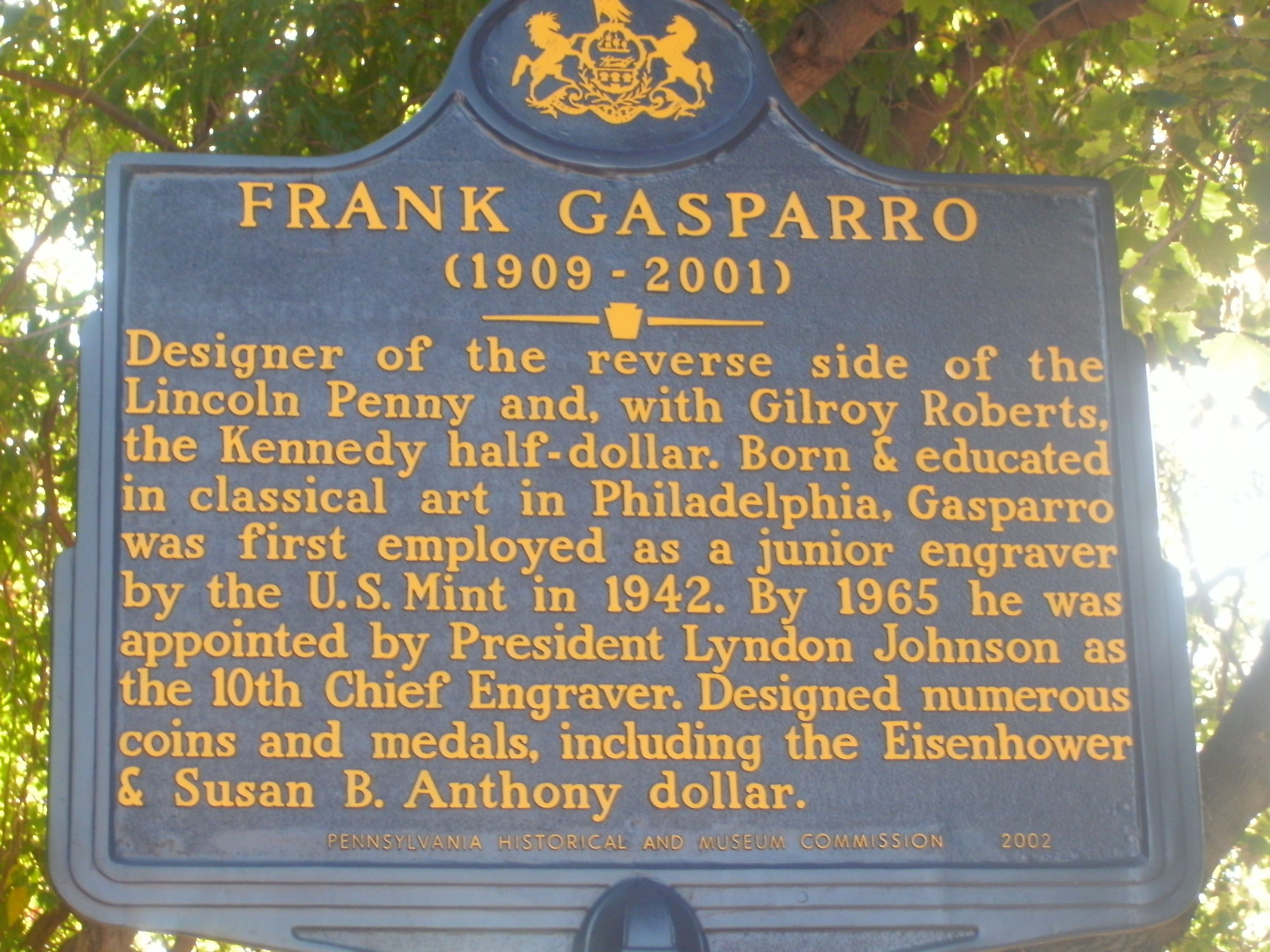 Frank Gasparro This Marker Is Located At 727 Carpenter Street In