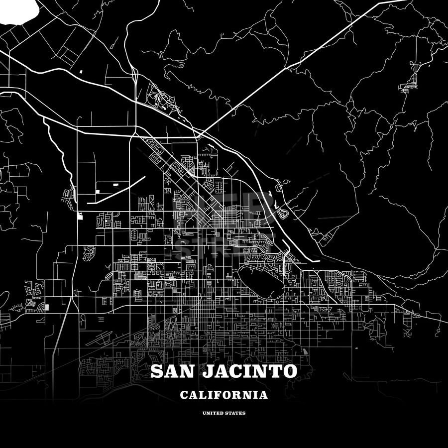 Black Map Poster Template Of San Jacinto California Usa Maps