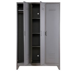 Armoire penderie type casier en m tal gris 3 portes 3 for Armoire casier industriel