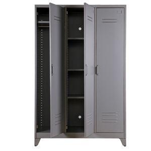 armoire penderie type casier en m tal gris 3 portes 3 tag res max armoire penderie casiers. Black Bedroom Furniture Sets. Home Design Ideas