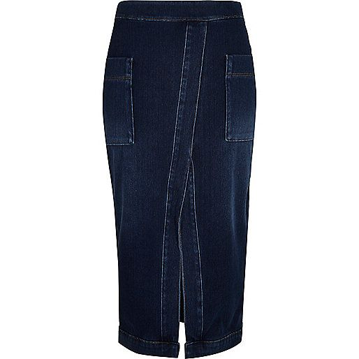Blue denim split front pencil skirt - tube / pencil skirts ...