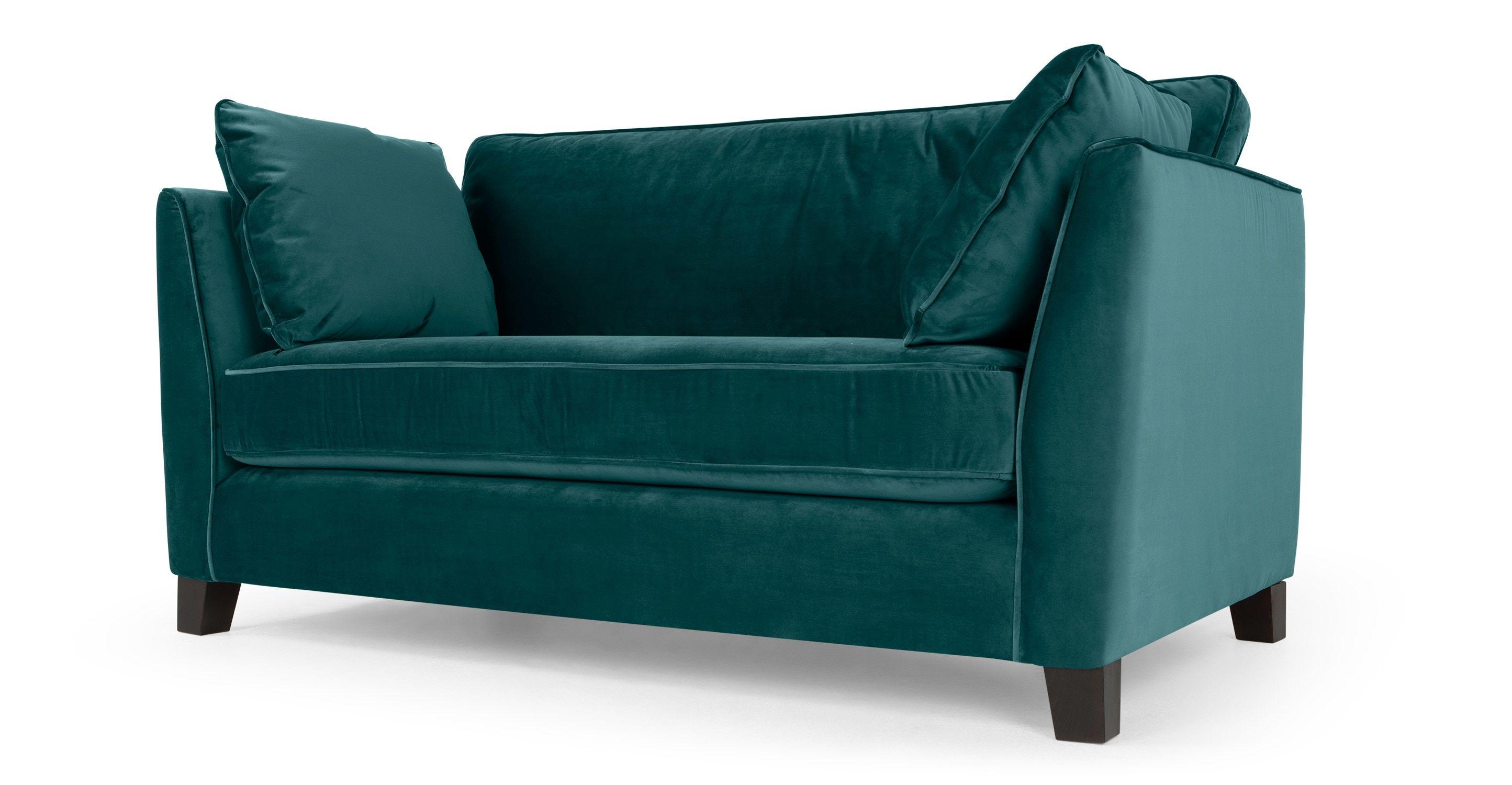 Wolseley 2 Seater Sofa, Peacock Blue Velvet