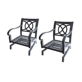 Allen + Roth Set Of 2 Newstead Gray Textured Extruded Aluminum Slat Patio  Spring Motion Chairs