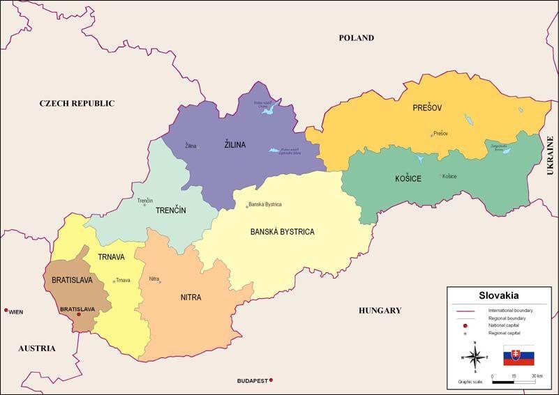 Mapa Politico De Eslovaquia Eslovaquia