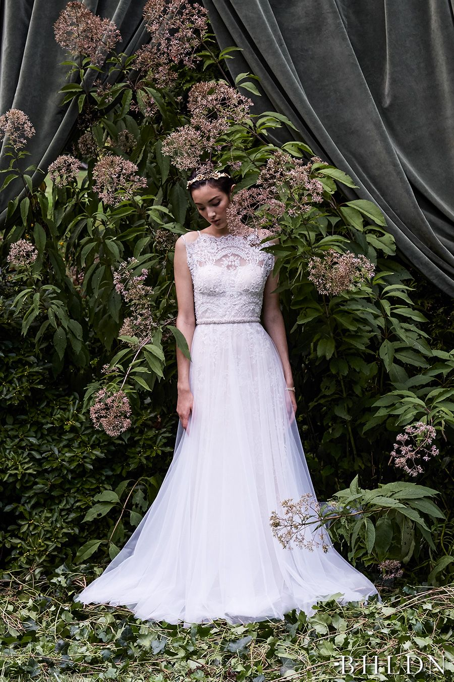 67f365518b16 bhldn fall 2016 bridal sleeveless double strap illusion high neck  sweetheart neckline heavily embellished bodice tulle skirt romantic a line  wedding dress ...