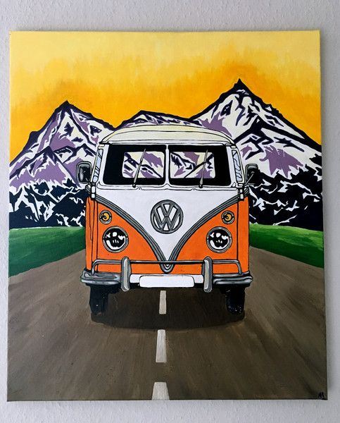acrylmalerei vw bus t1 acryl abenteuer berge. Black Bedroom Furniture Sets. Home Design Ideas