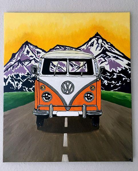Vw bus t1 acryl abenteuer berge sonnenuntergang vw for Acrylmalerei ideen