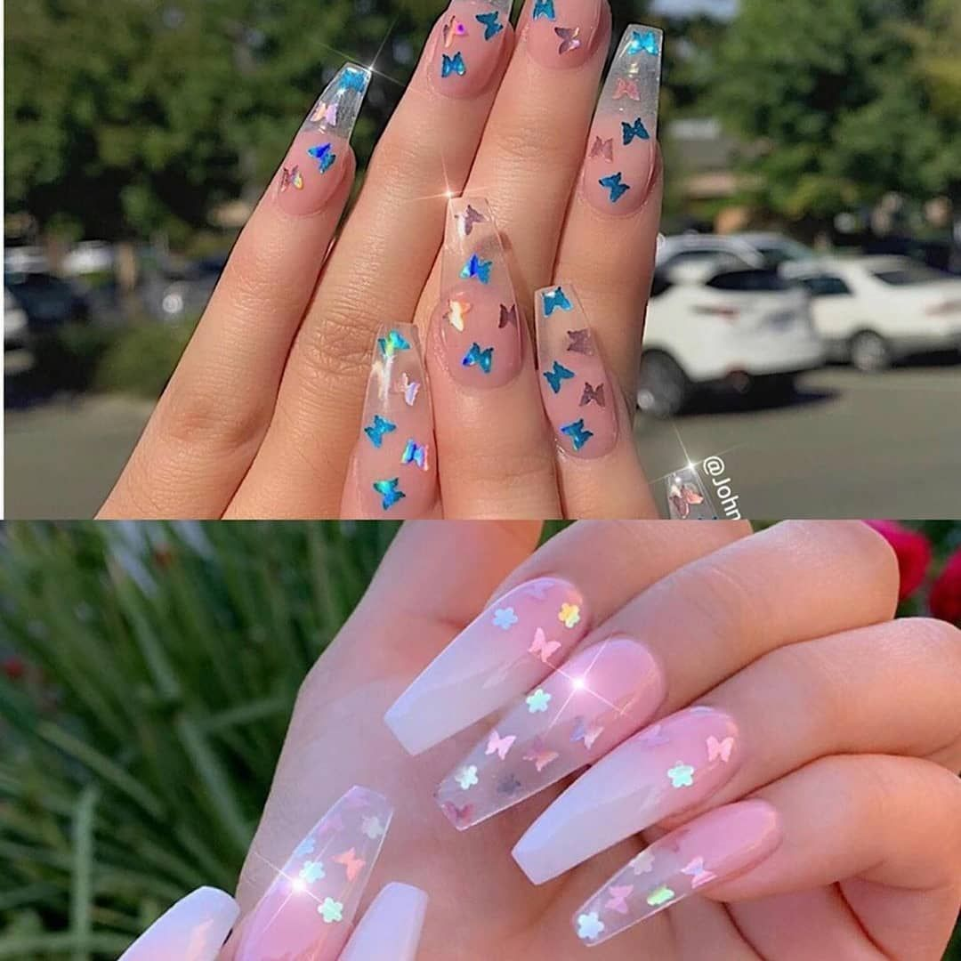 Nails Vibes On Instagram Butterflies Blue Or Pink Please Swipe Comment Below And Tag Someon Pink Acrylic Nails Ombre Acrylic Nails Acrylic Nails