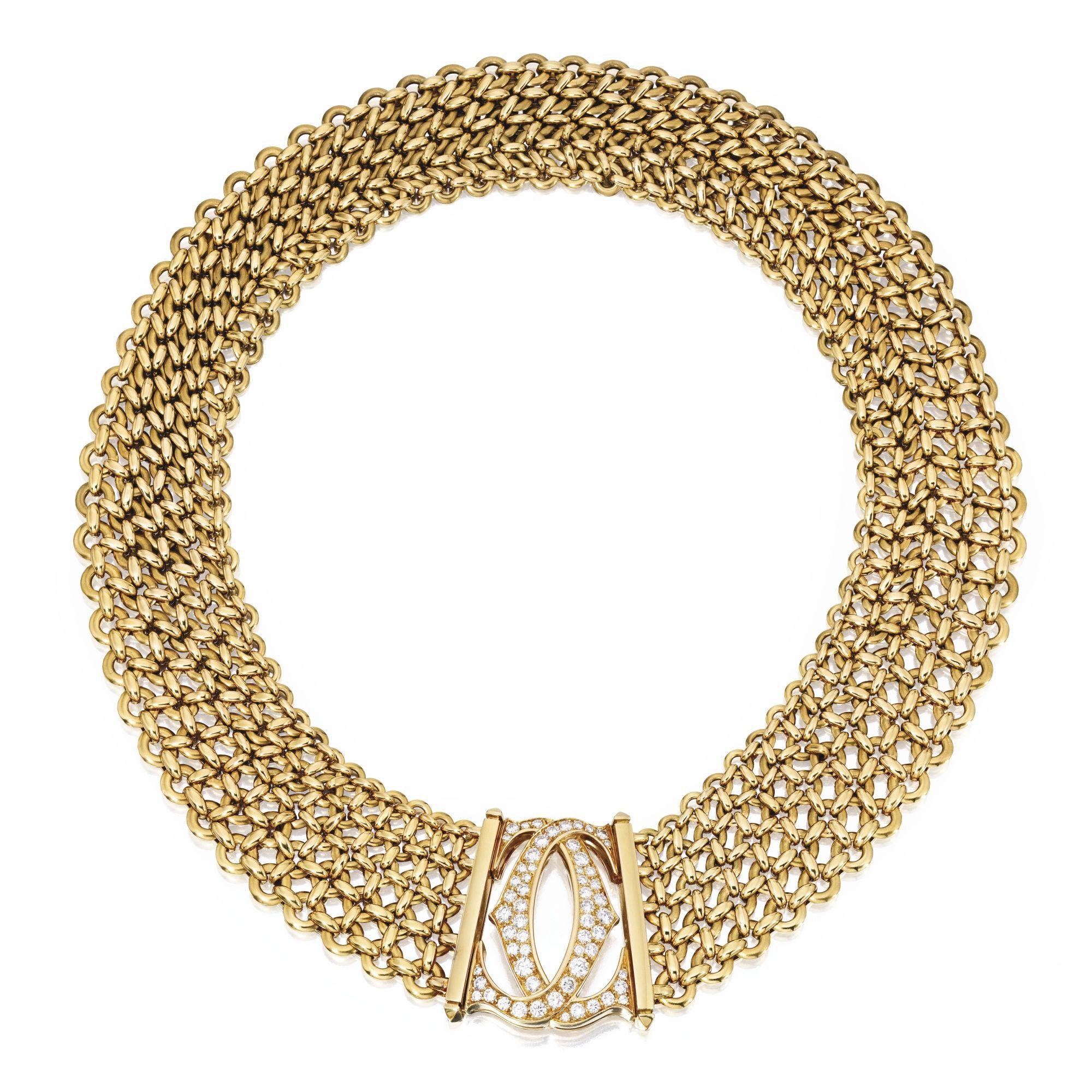 karat gold and diamond necklace cartier france the flexible