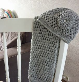 Puff Stitch Muts En Sjaal Knoopjesz Haken Crochet Beenie Pinterest