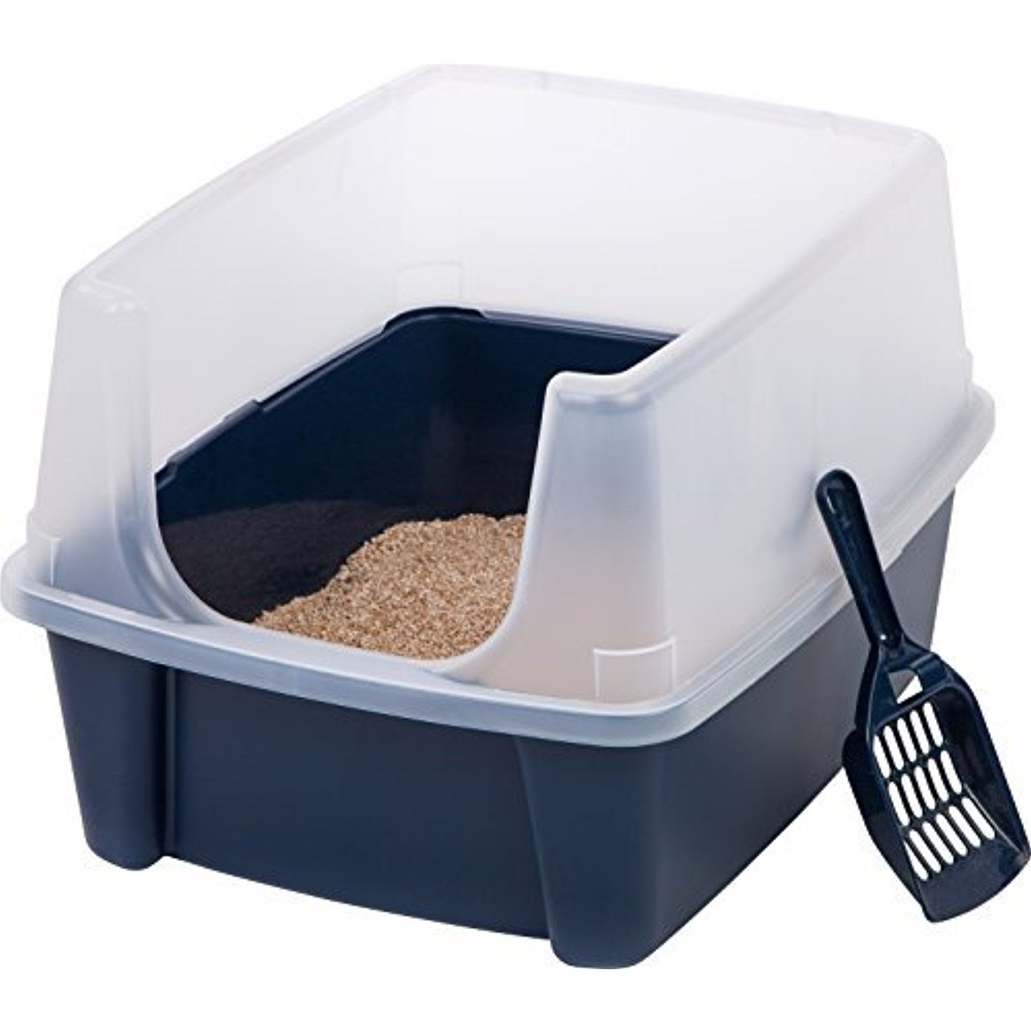 Open Top Cats Litter Box with Shield and Scoop Tidy on the