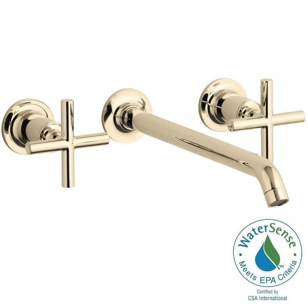 KOHLER Purist Wall-Mount 2-Handle Bathroom Faucet Trim Kit in ...