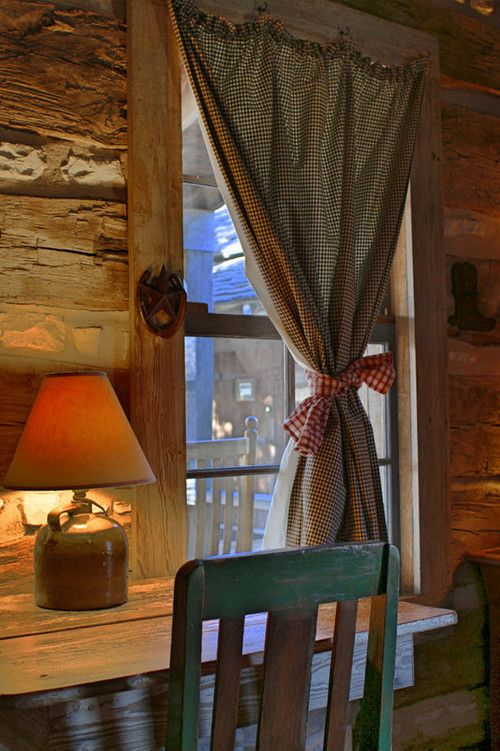 The Rustic Green Chair Is A Nice Accent Cabin Curtains Houses