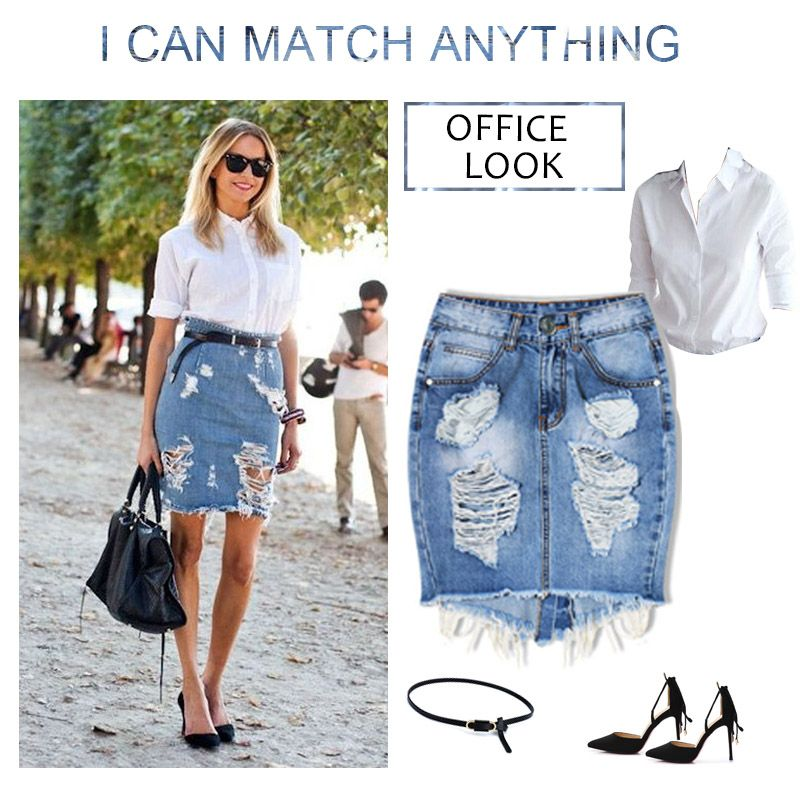 799156616ca Midi Denim Skirt Women 2017 Summer Split High Waist Short Hole Jeans Skirt  Irregular Sexy Jean Pencil Skirts Womens Jupe Faldas   Price   20   FREE  Shipping ...