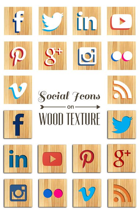Free social media wood icon set just in time for fall. Help yourself!
