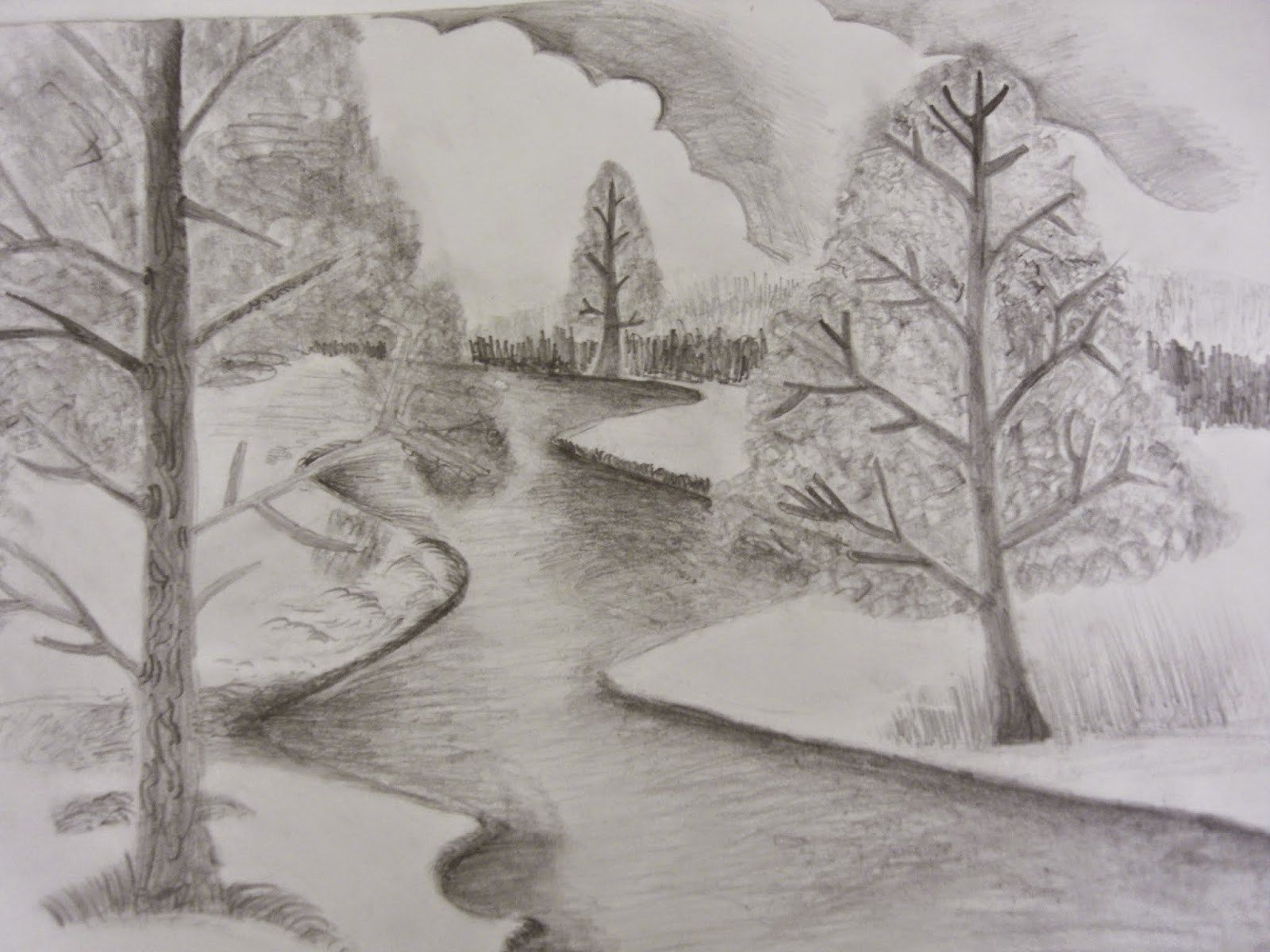Scenery Drawing Pencil Shading Easy Pencil Drawings Of Landscapes