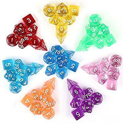 Intey 56 Polyedrische Wurfel In 8 Farben 8 Wurfeln Beuteln Ein