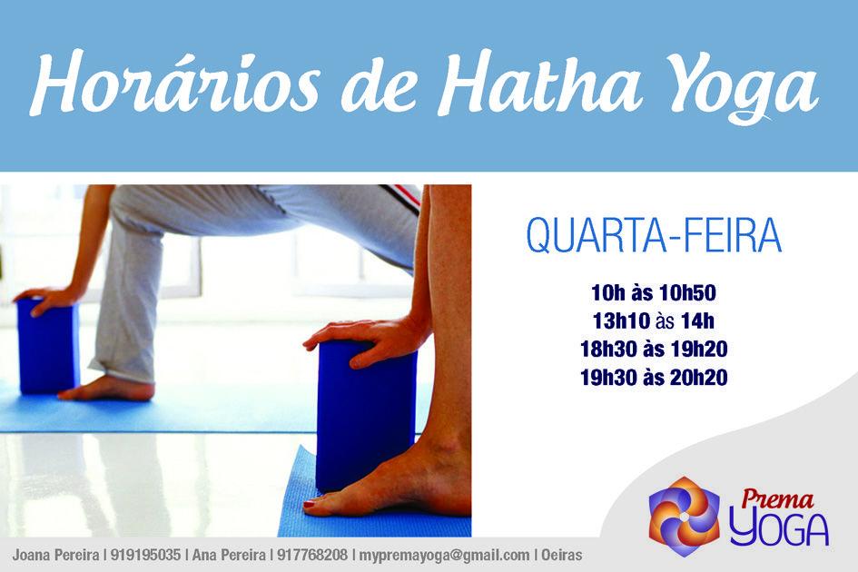 HORÁRIOS DE HATHA YOGA À QUARTA-FEIRA