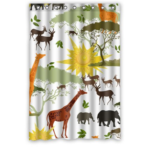 Waterproof Polyester Elephant Giraffe Deer Shower Curtain 48 X 72