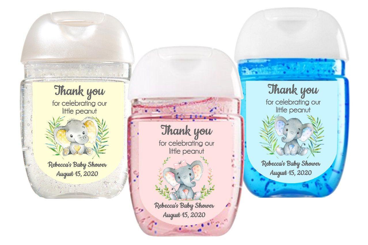 Pink Elephant Baby Shower Favor Labels Hand Sanitizer Labels