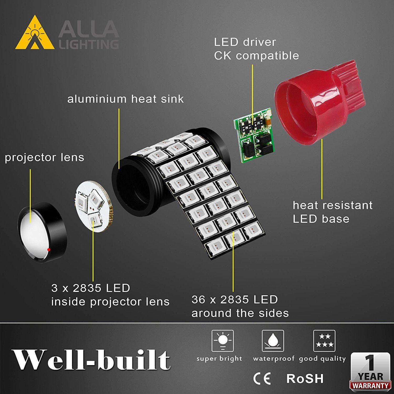 Alla Lighting 7440 7443 Led Brake Stop Tail Lights Bulbs Super