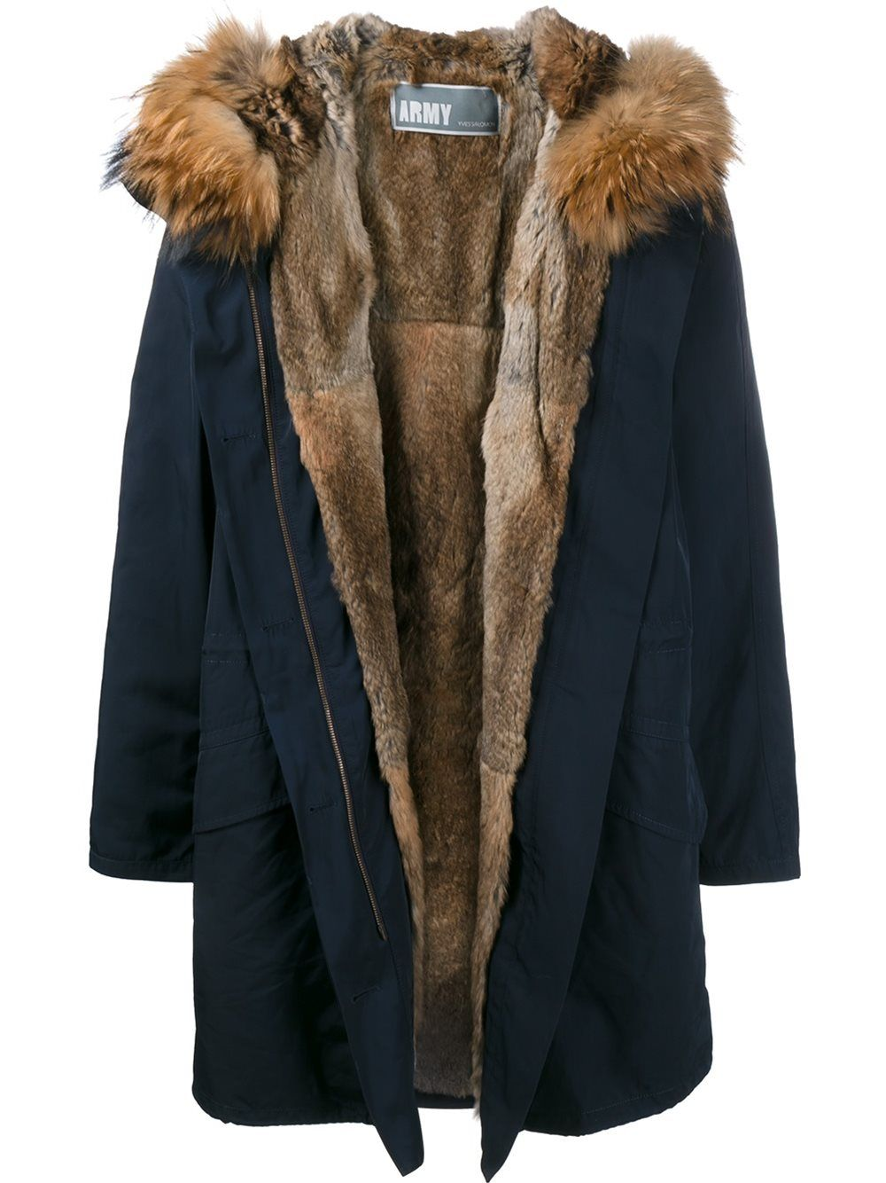 Army Yves Salomon fur lined parka Blue Parka, Blue Fur Coat, Fur Lined Coat bb2b98e926d