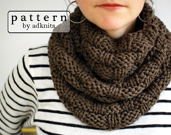Basket Weave Infinity Scarf Knitting Pattern, Chunky Cowl PDF ...