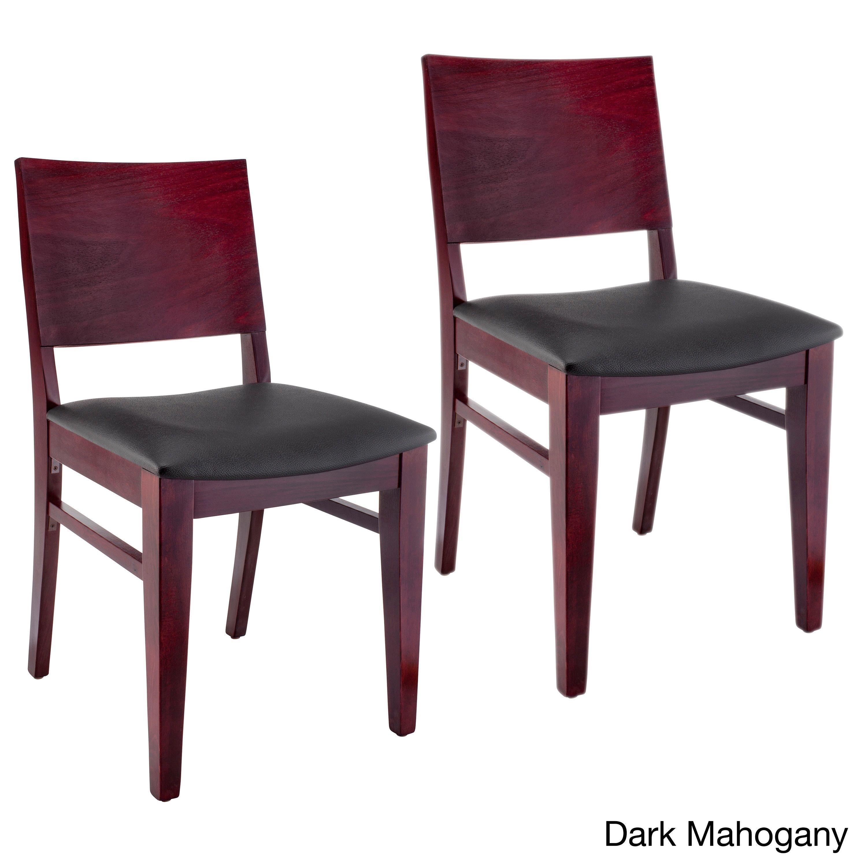 Copenhagen Black Wood Dining Chairs (Set of 2) (Copenhagen Dining Chairs Dark Mahogany)