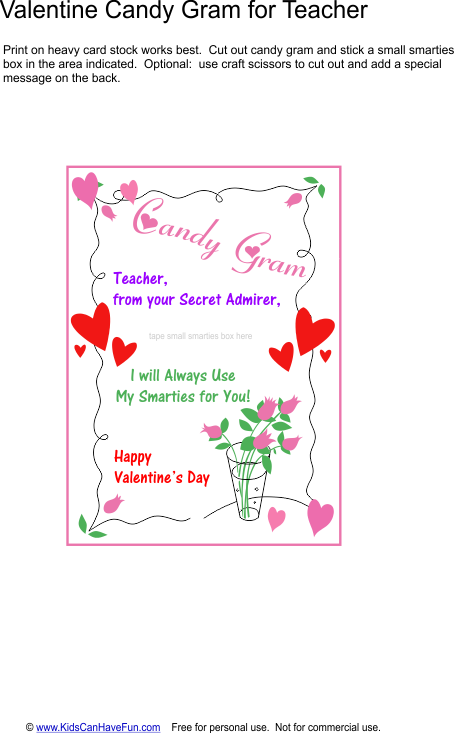 Valentine Candy Gram For Teacher Valentines Day Ideas